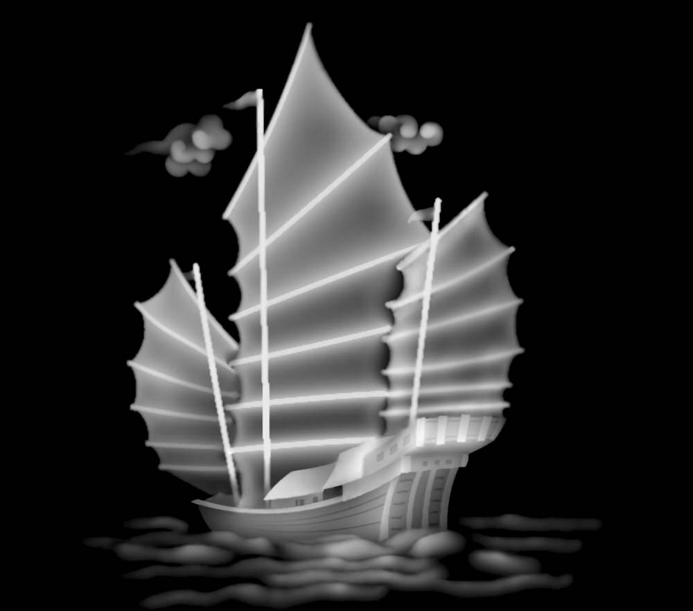 Sailing Ship Grayscale Image BMP File