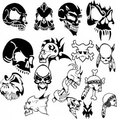 Horror Skull Vector Set Free Vector