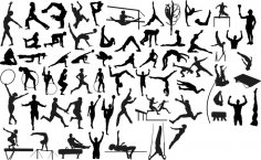 Silhouettes of Sportsmen Athletes Gymnasts Free Vector