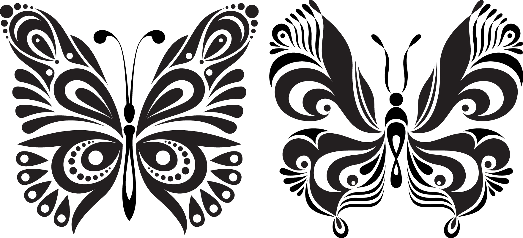 Black White Butterflies Of Tattoo Free Vector