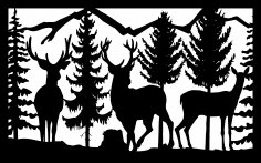 30 X 48 Three Deer Mountains Trees Plasma Art DXF File