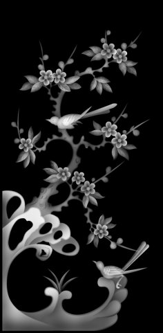 Flower and Bird Grayscale BMP File