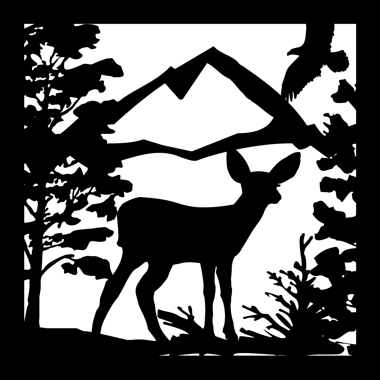 24 X 24 Deer Fawn Eagle Mountains Plasma Art DXF File