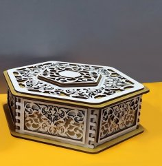 Laser Cut Decorative Hexagonal Gift Box Free Vector