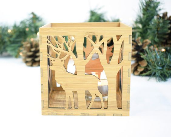 Laser Cut Box Lamp Deer In The Forest Free Vector