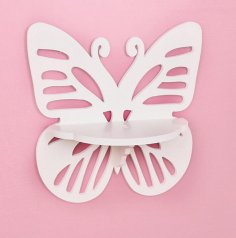 Laser Cut Wall Hanging Shelf Butterfly Rack Template Free Vector