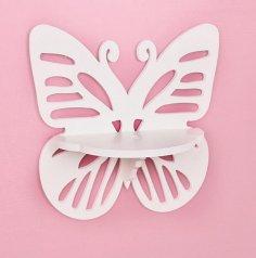 Laser Cut Wall Hanging Shelf Butterfly Rack Template Free Vector