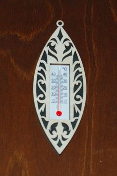 Laser Cut Wooden Wall Thermometer Cover Free Vector