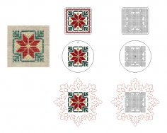 Laser Cut Wooden Cross Stitch Embroidery Blanks Snowflake Circle Square Ornament Free Vector