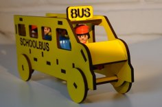 Laser Cut Wooden School Bus Toy DXF File