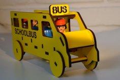 Laser Cut Wooden School Bus Toy DXF File
