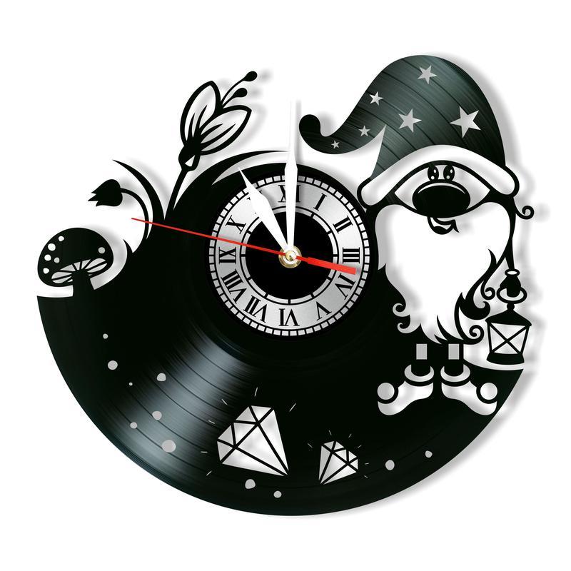 Laser Cut Gnome Wall Clock Vinyl Record Clock Free Vector
