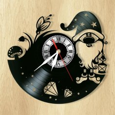 Laser Cut Gnome Wall Clock Vinyl Record Clock Free Vector