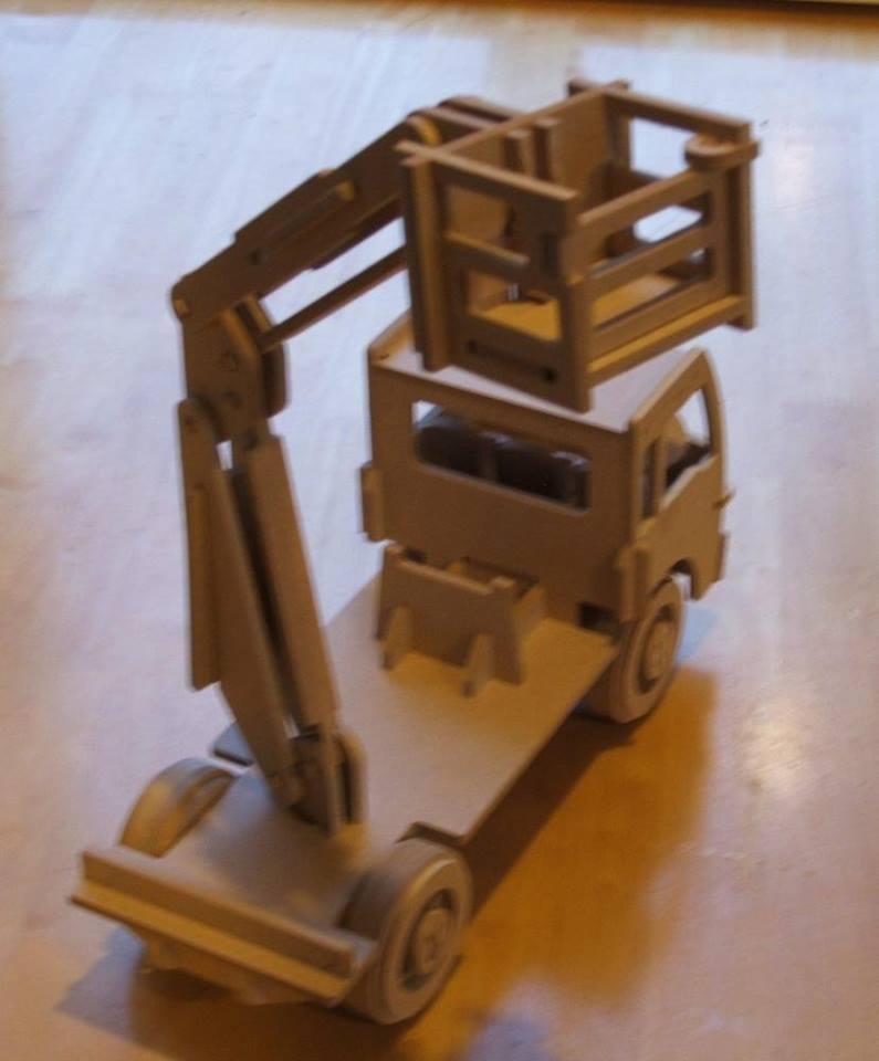 Laser Cut Wooden Cherry Picker Truck Kids Toy Truck Mounted Aerial Work Platform DXF File