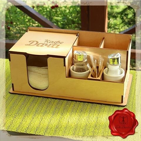 Laser Cut Dining Table Napkin And Spice Holder Toothpick Holder Free Vector