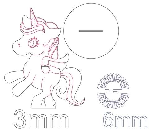 Laser Cut Unicorn Napkin Holder DXF File