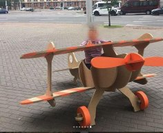 Laser Cut Wooden Airplane Play Sturcture Free Vector