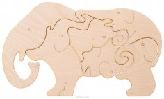 Laser Cut Wooden Elephants Jigsaw Puzzle For Kids Children Indoor Games DXF File