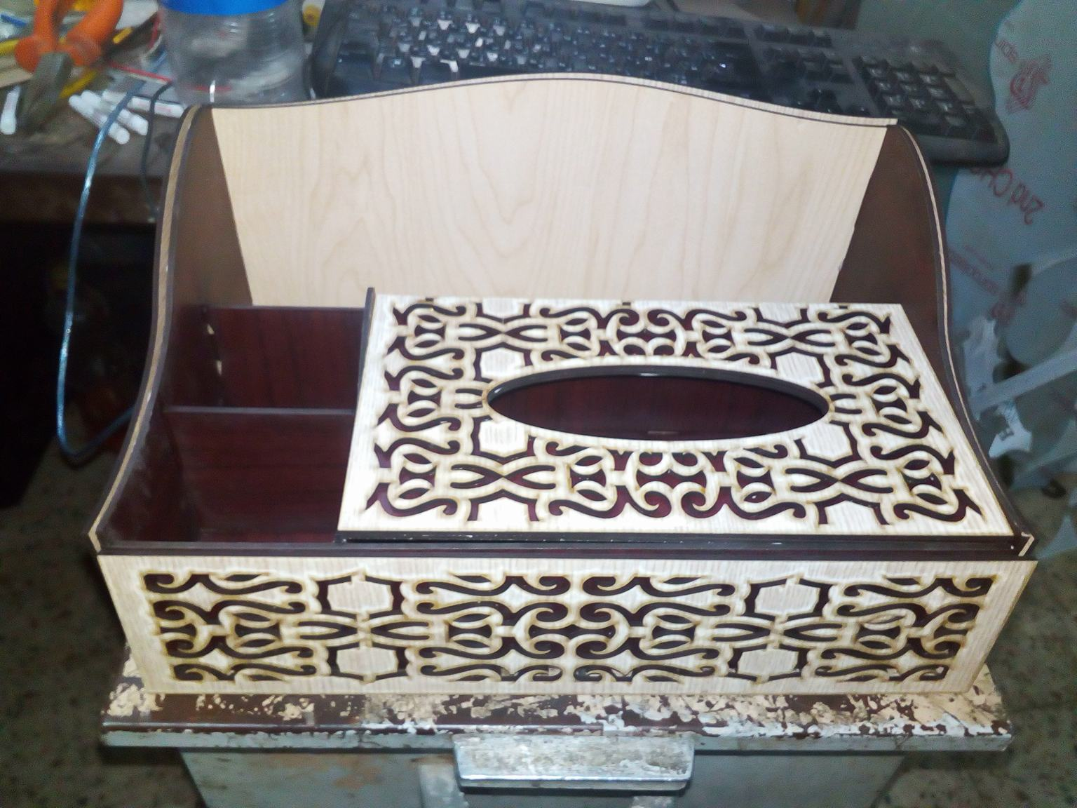 Laser Cut Organizer With Tissue Box Free Vector