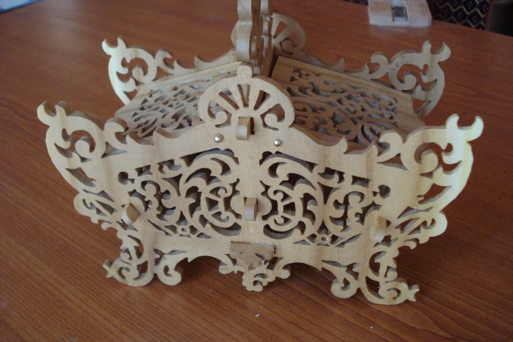 Laser Cut Wooden Decorative Basket With Lid Free Vector
