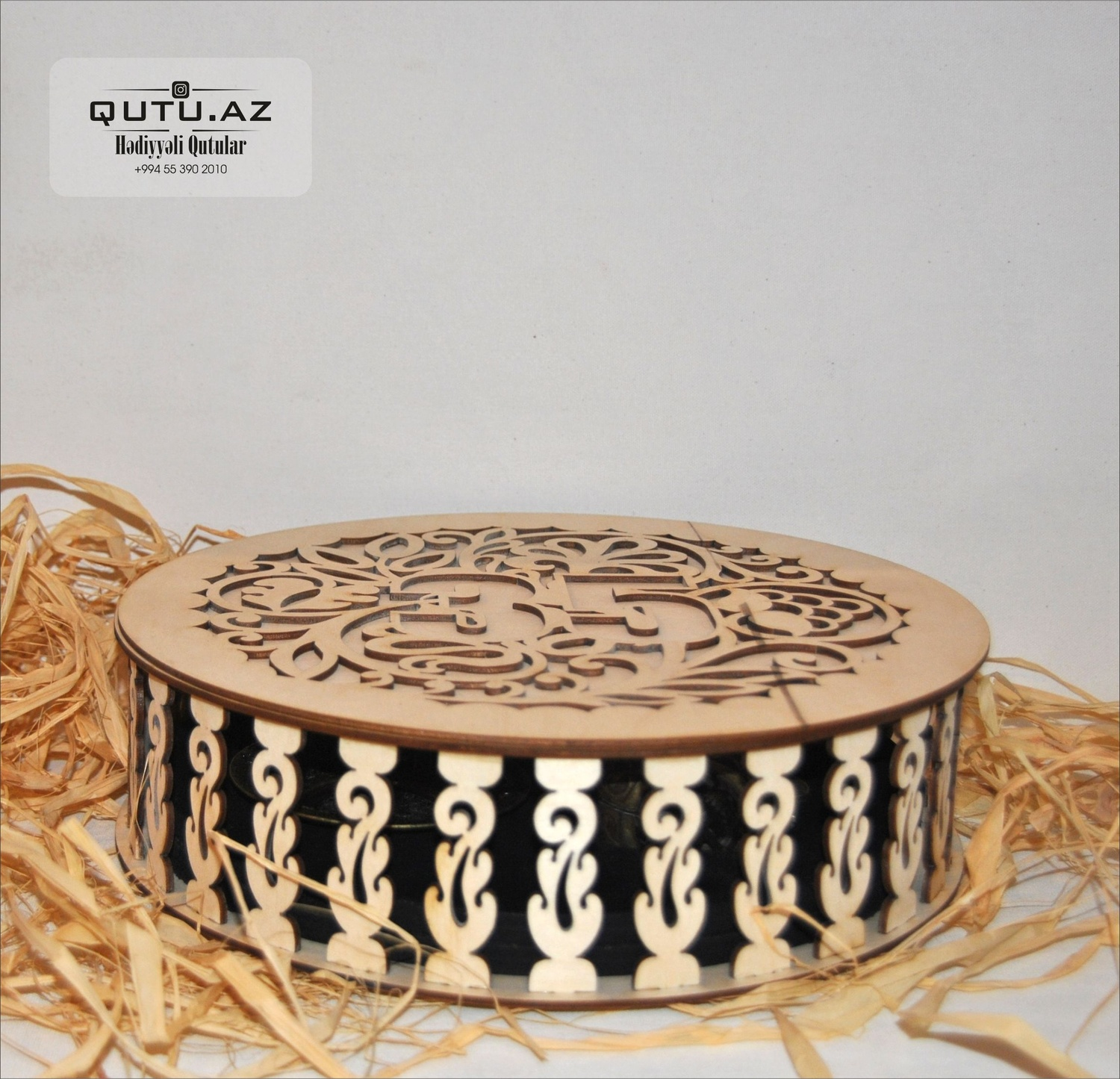 Laser Cut Decorative Round Jewelry Box Free Vector