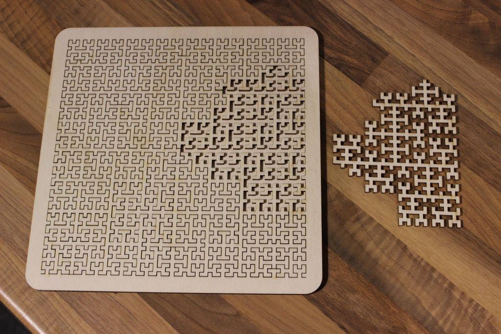 Laser Cut Wooden Fractal Tray Puzzle SVG File