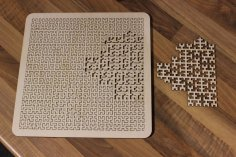 Laser Cut Wooden Fractal Tray Puzzle SVG File