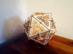 Laser Cut Icosahedron Lamp 3mm Plywood Free Vector