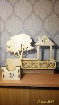 Laser Cut Wooden Wall Shelf Key Holder With Fence And Tree Free Vector