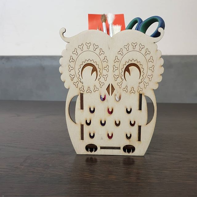 Laser Cut Owl Pencil Holder Free Vector