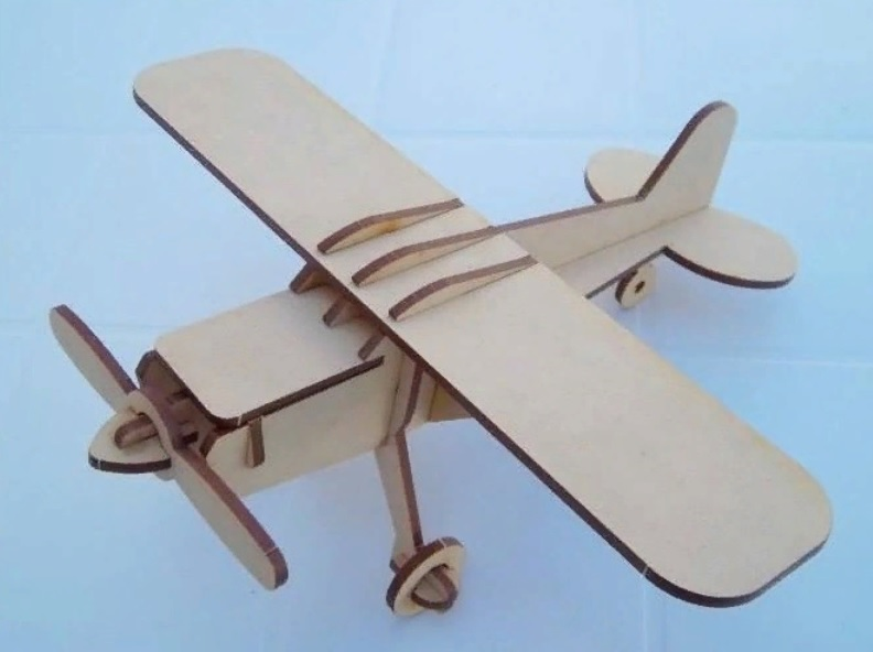 Laser Cut Wooden Toy Airplane Free Vector