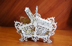 Laser Cut Decorative Candy Basket DXF File