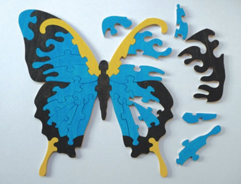 Laser Cut Butterfly Jigsaw Puzzle for Kids Template Free Vector