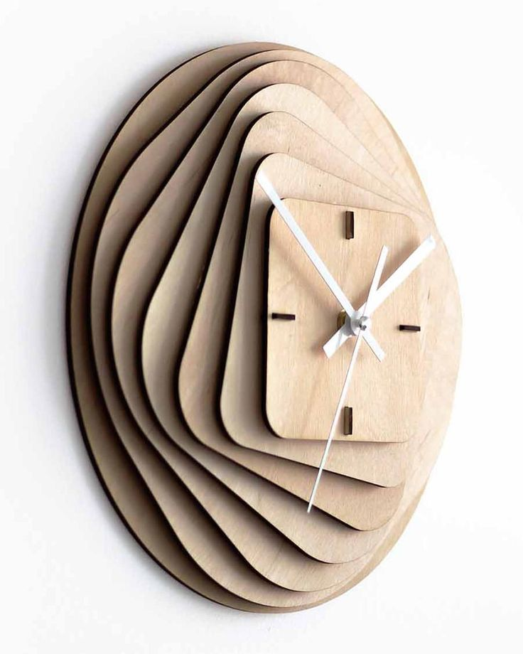 Laser Cut Layered Wood Clock 3mm Birch Plywood With 3mm Space Free Vector