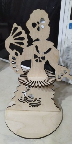Laser Cut Girl With Fan Napkin Holder DXF File