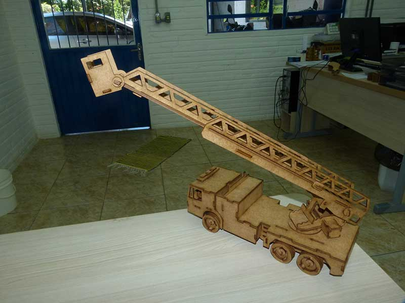 Laser Cut Fire Brigade Ladder Truck Free Vector