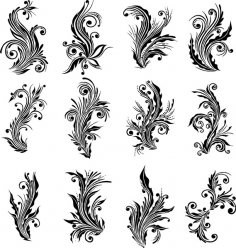 AI Floral Design Elements Vector Free Vector