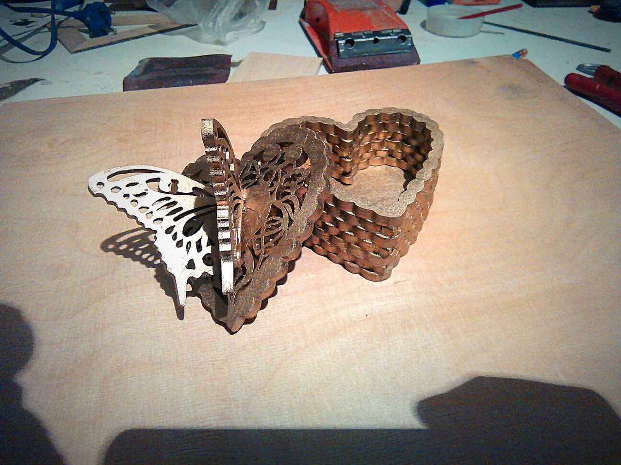 Butterfly Heart Box DXF File