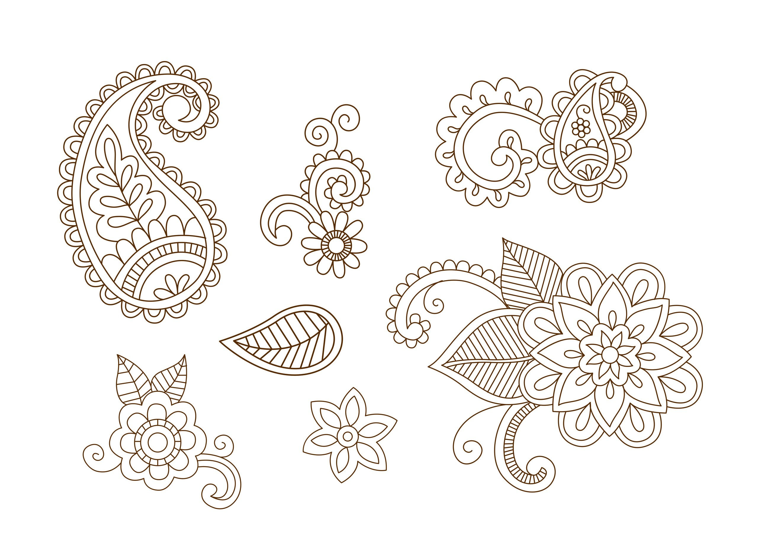 Mehndi Henna Desingn Vectors Free Vector