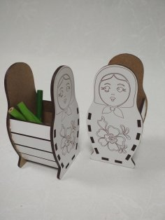 Laser Cut Matryoshka Doll Pen Holder Free Vector