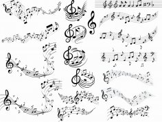 Music Notes Clipart DXF File