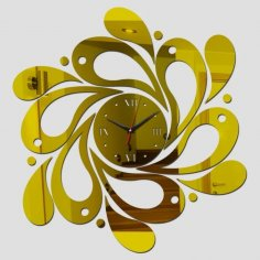 Laser Cut Spiral Wave Wall Clock Free Vector