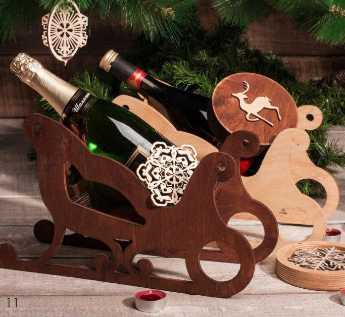 Sleigh Wine Holder Free Vector
