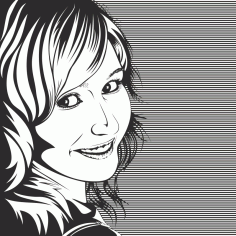 Vector Drawing of Woman in Black and White Free Vector