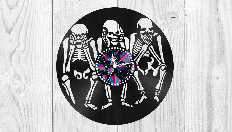 Skeletons Vinyl Clock Free Vector