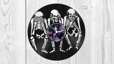 Skeletons Vinyl Clock