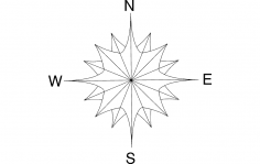 North Arrow Compass Flower dxf File