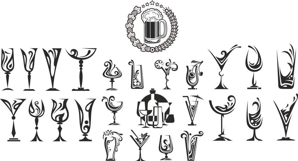 Cocktail Drinking Glasses Vector Set CDR File