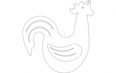Rooster Crowing Silhouette dxf File