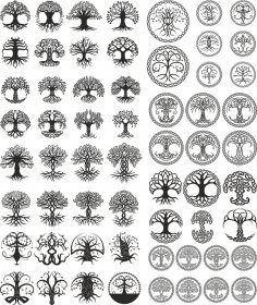 Celtic Trees Pack Free Vector